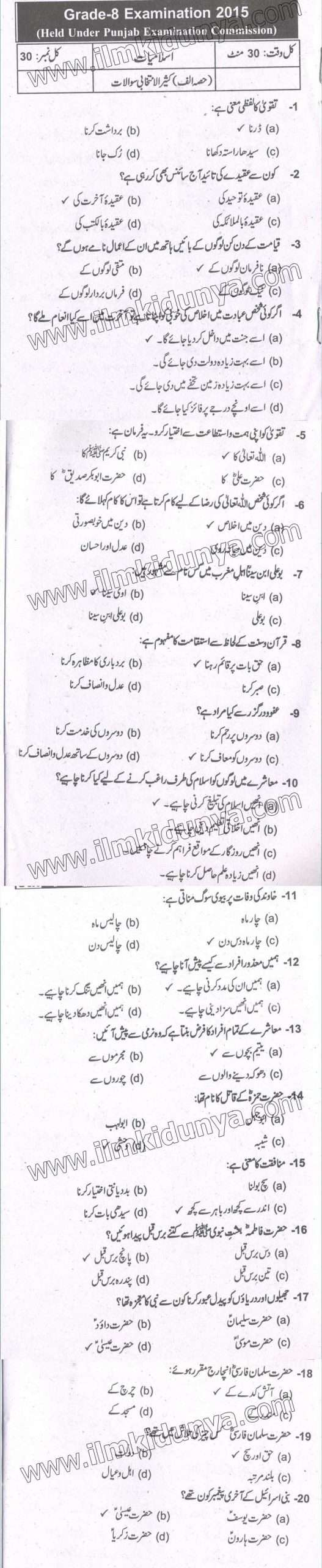 PEC 8th Class Islamiat Past Papers