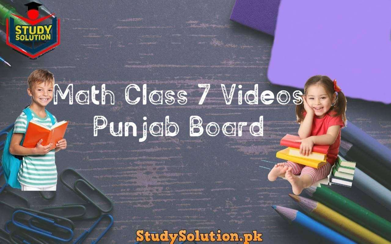 Math Class 7 Videos Punjab Board