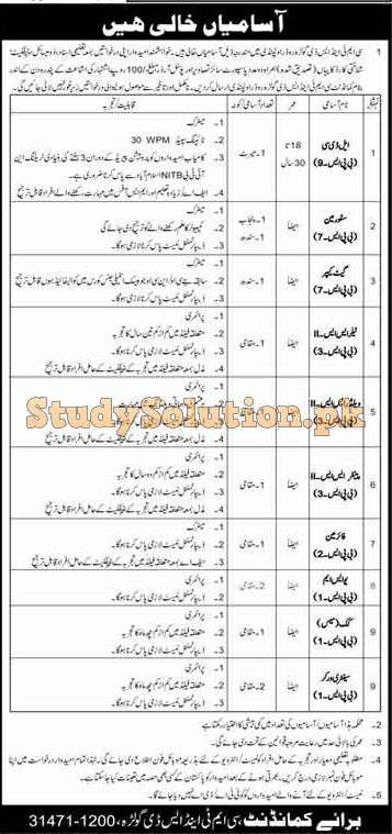 CMT And SD Golra Rawalpindi Cant Latest Jobs 2020
