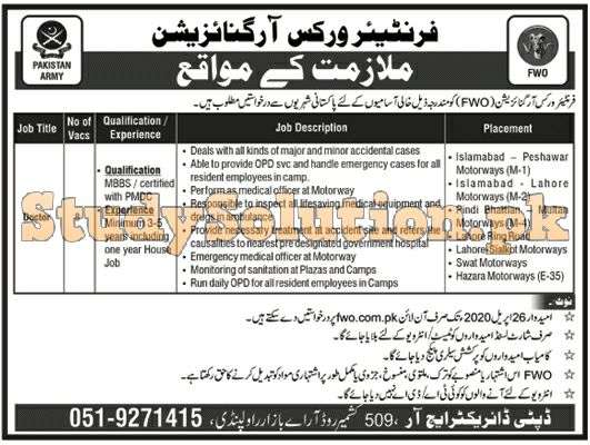 Frontier Works Organization Latest Jobs 2020