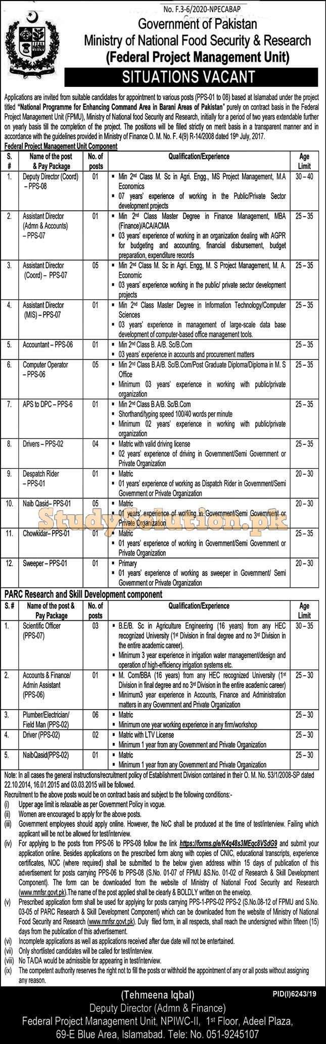 Ministry of National Food Security and Research MNFCR Jobs 2020