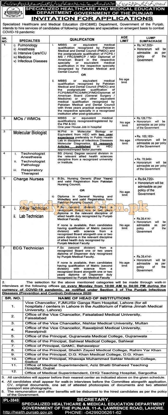 Specialized Healthcare And Medical Education Department 2020 Jobs