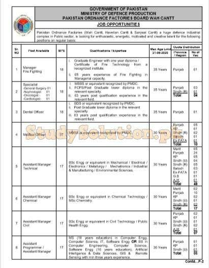Pakistan Ordinance Factories POF Latest Jobs 2020 Apply Online