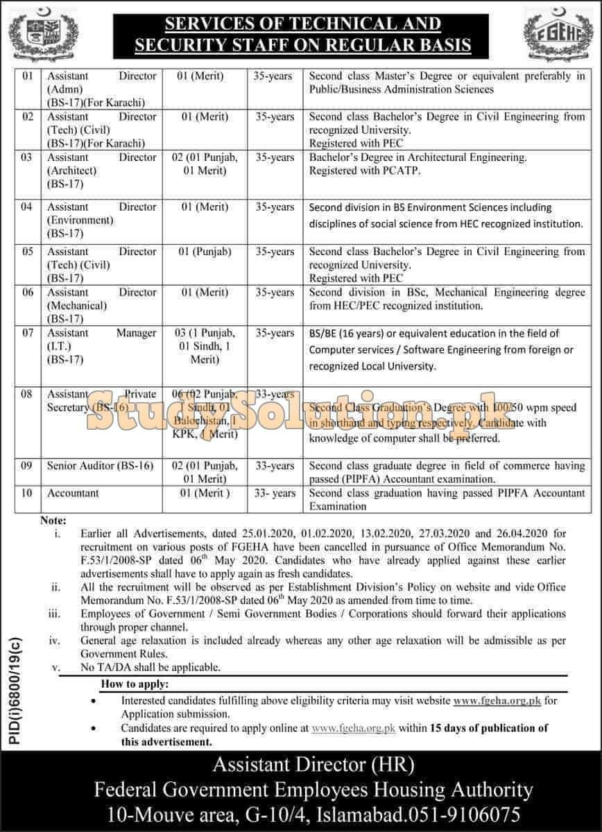 Federal Government Employees Housing Authority FGHA Jobs 2020