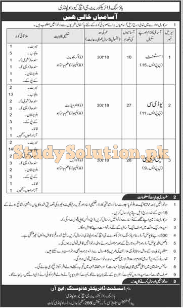 Details of Pakistan Army Housing Directorate GHQ Rawalpindi Jobs 2020