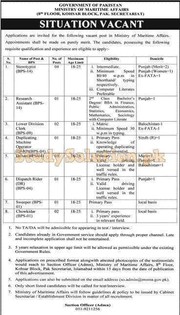 Ministry of Maritime Affairs Latest Jobs 2020