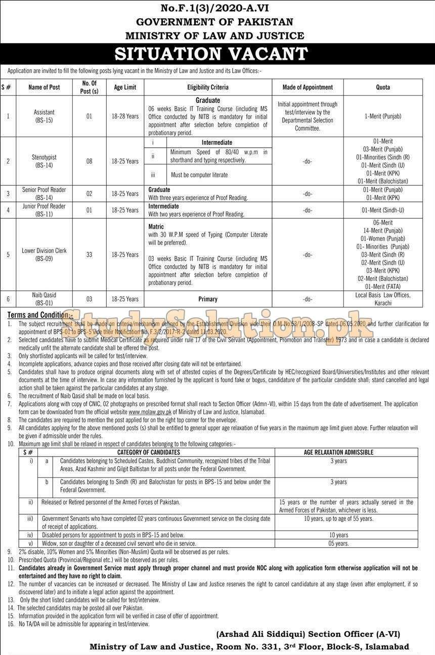 Ministry of Law and Justice Latest Jobs June 2020