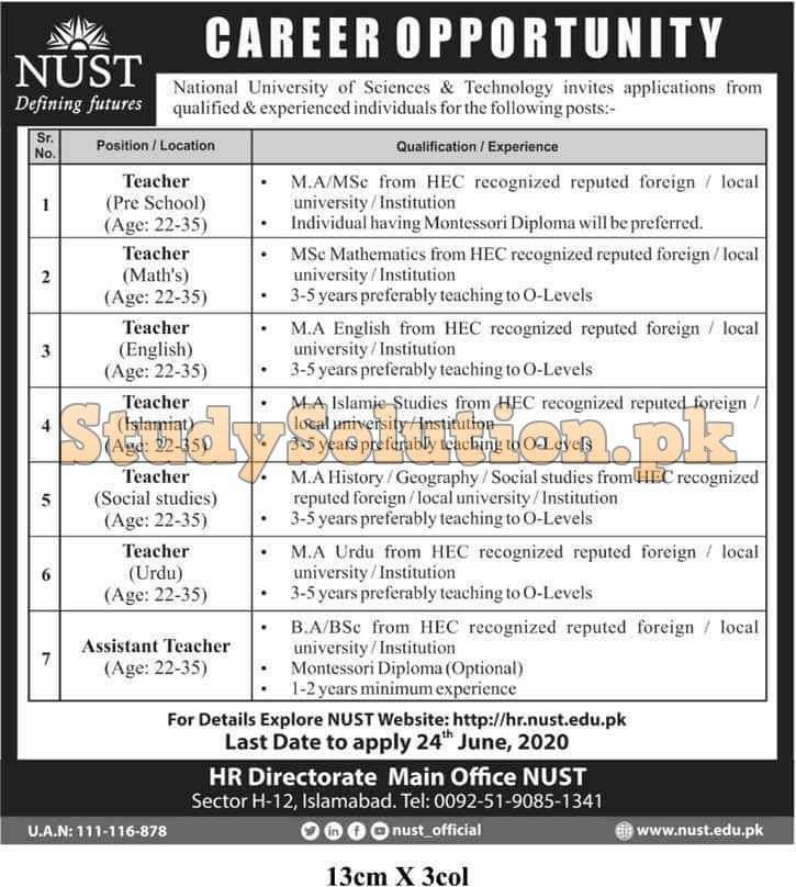 National University of Sciences and Technology NUST Jobs 2020