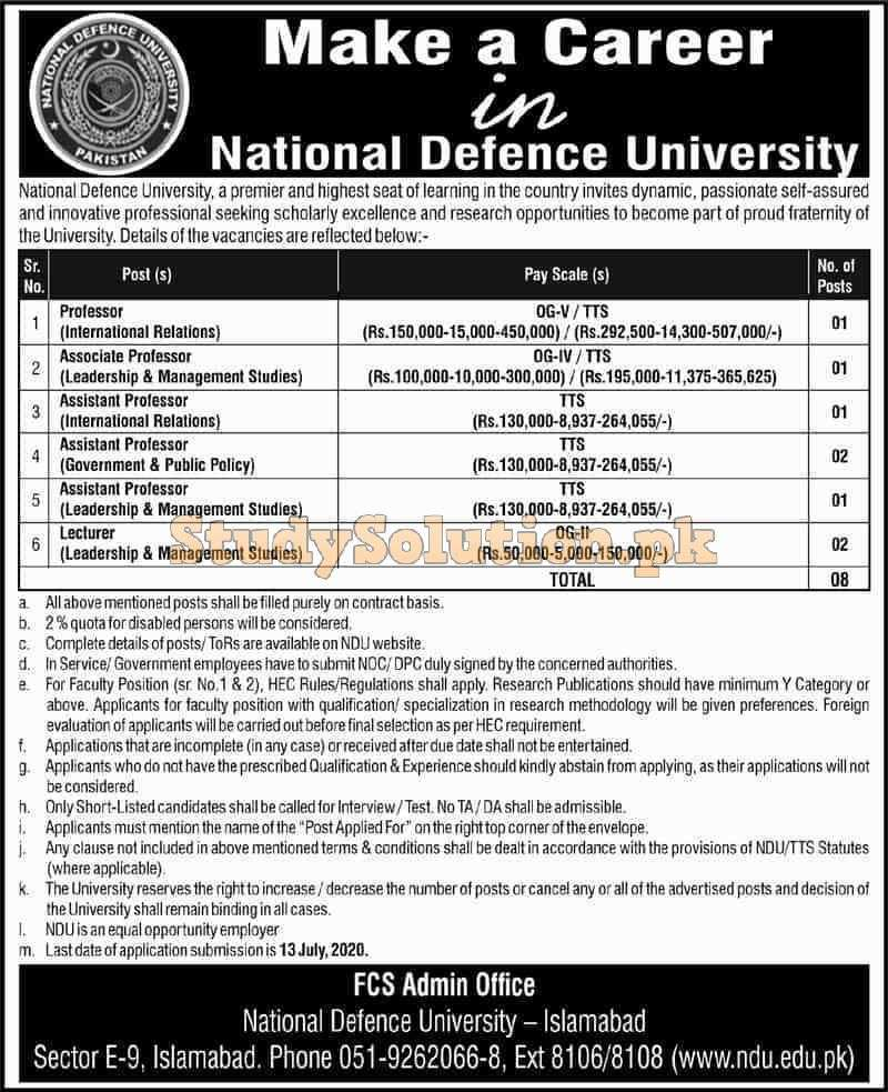 National Defence University NDU Islamabad Latest Jobs 2020