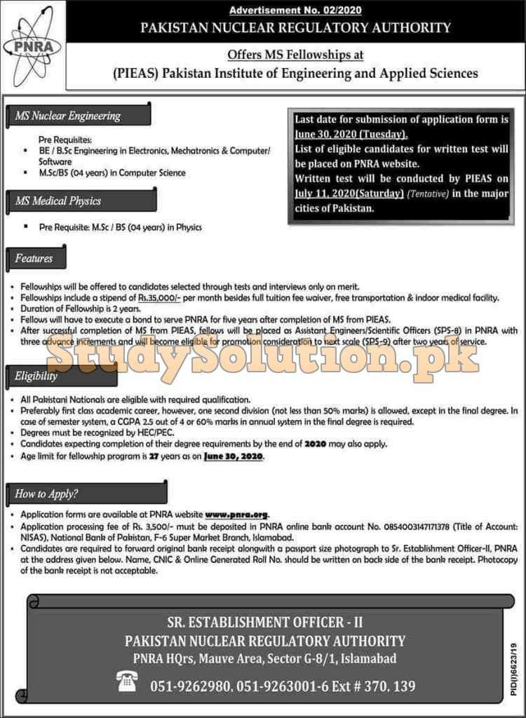 Pakistan Nuclear Regulatory Authority PNRA Latest Jobs 2020