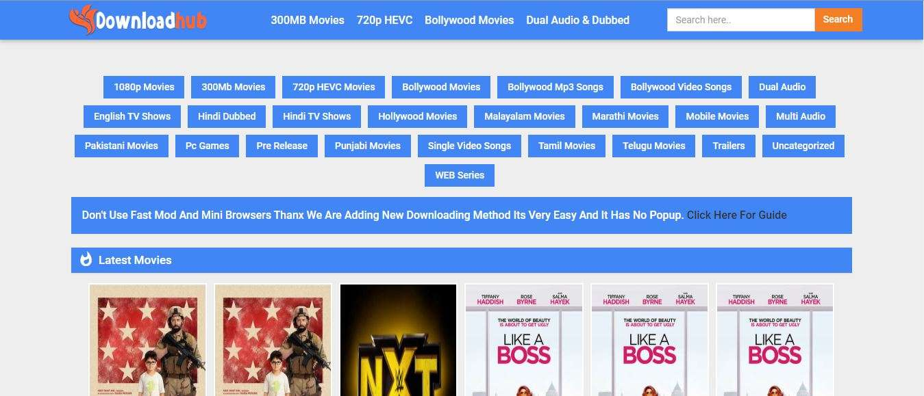 Top Sites Like DownloadHub Latest HD Movies Download Free