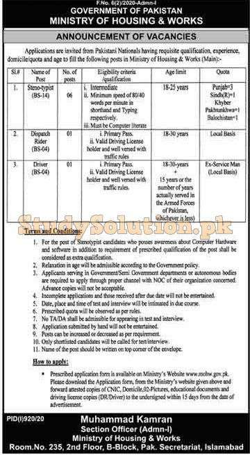 Ministry of Housing And Works Latest Jobs August 2020