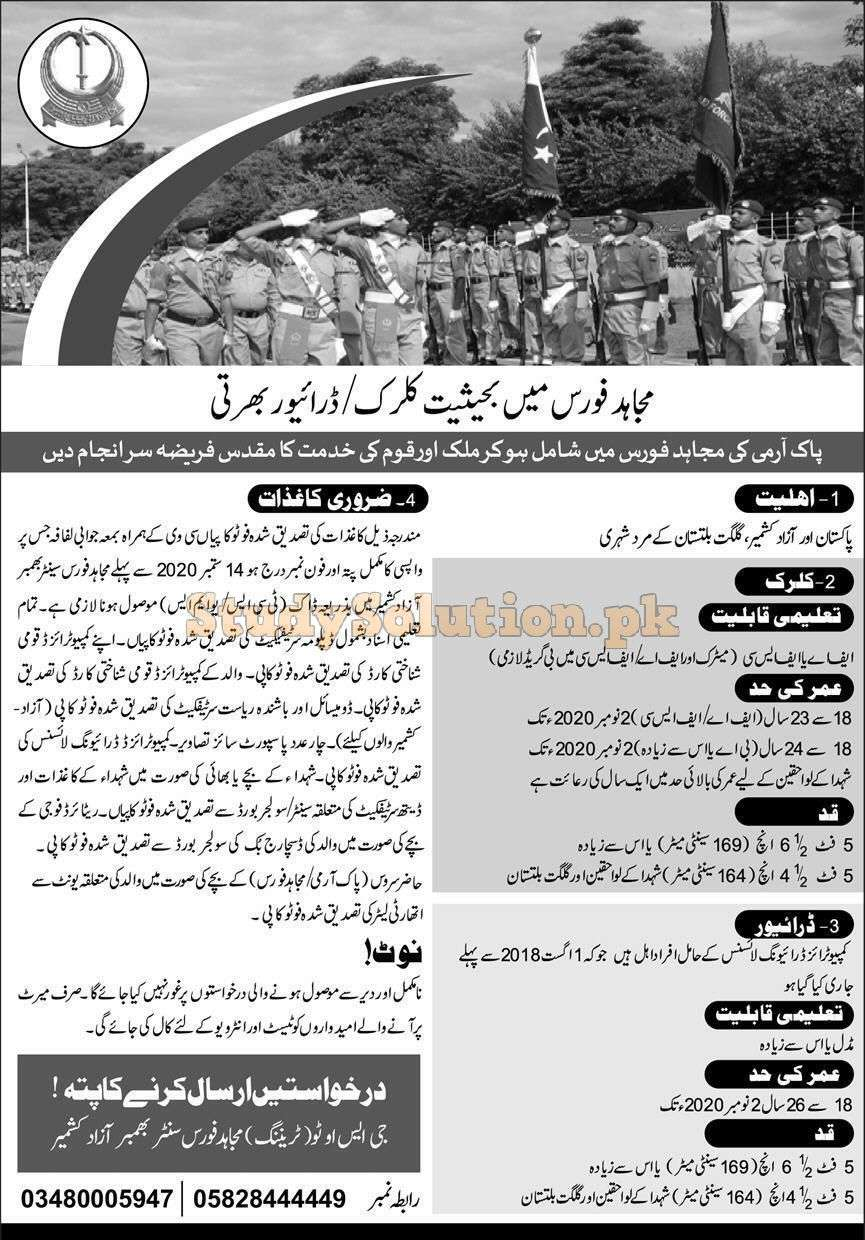 Pakistan Army Mujahid Force Latest Jobs 2020