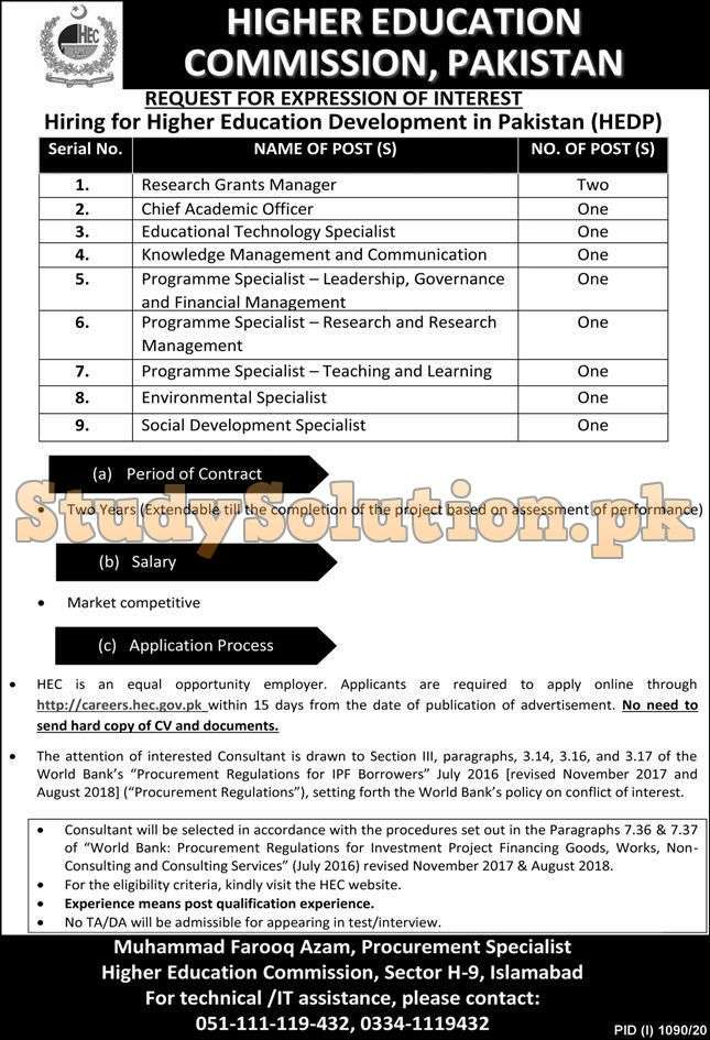 Higher Education Commission HEC Jobs September 2020