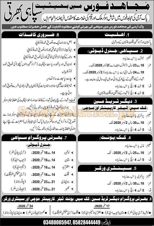 Pakistan Army Mujahid Force Sipahi Latest Jobs September 2020