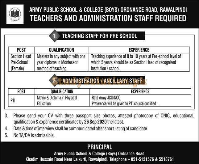 Army Public School and College Rawalpindi APS Teaching & Administrative Jobs 2020