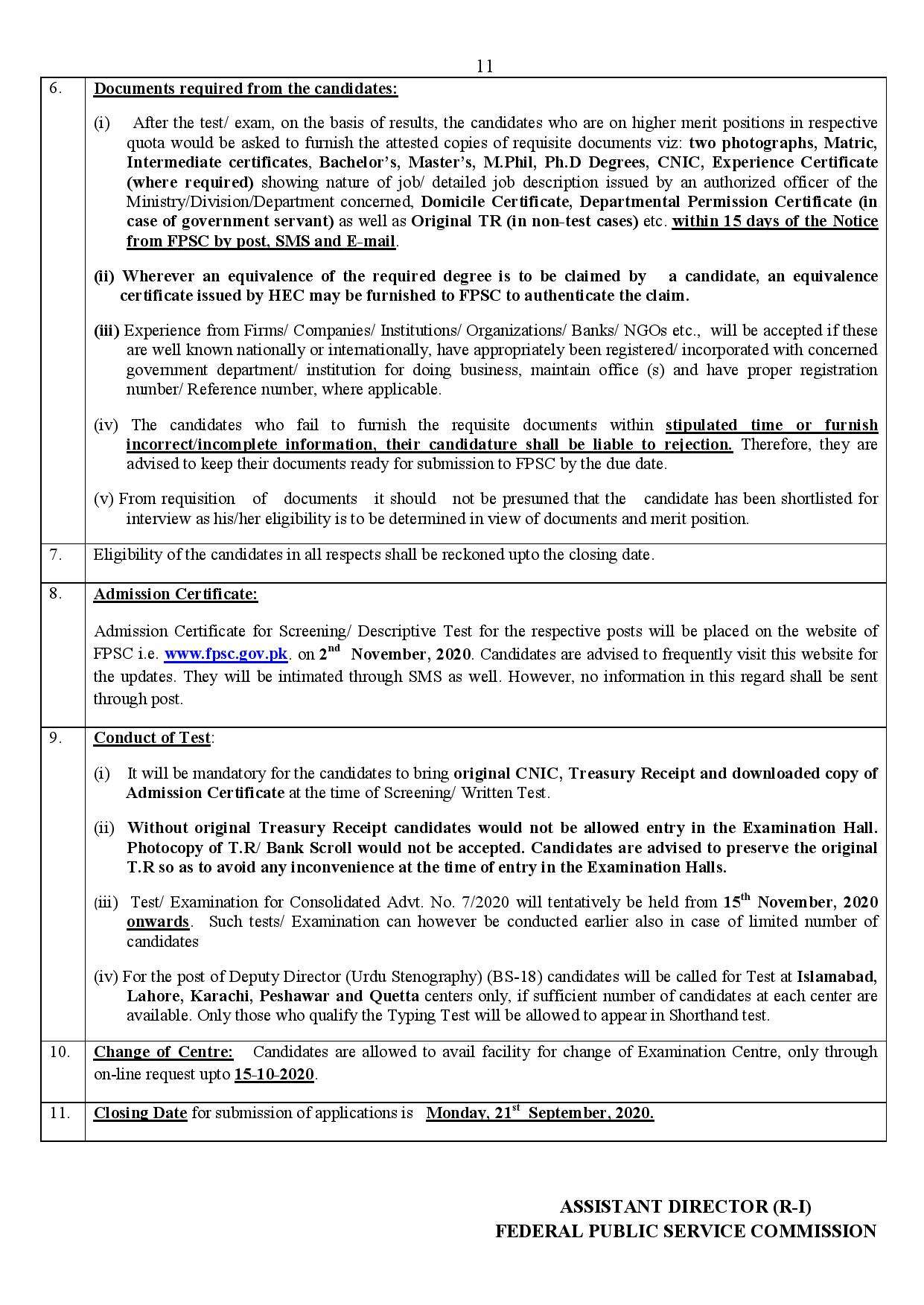 FPSC Latest Jobs September 2020 Consolidated Advertisement No 07/2020