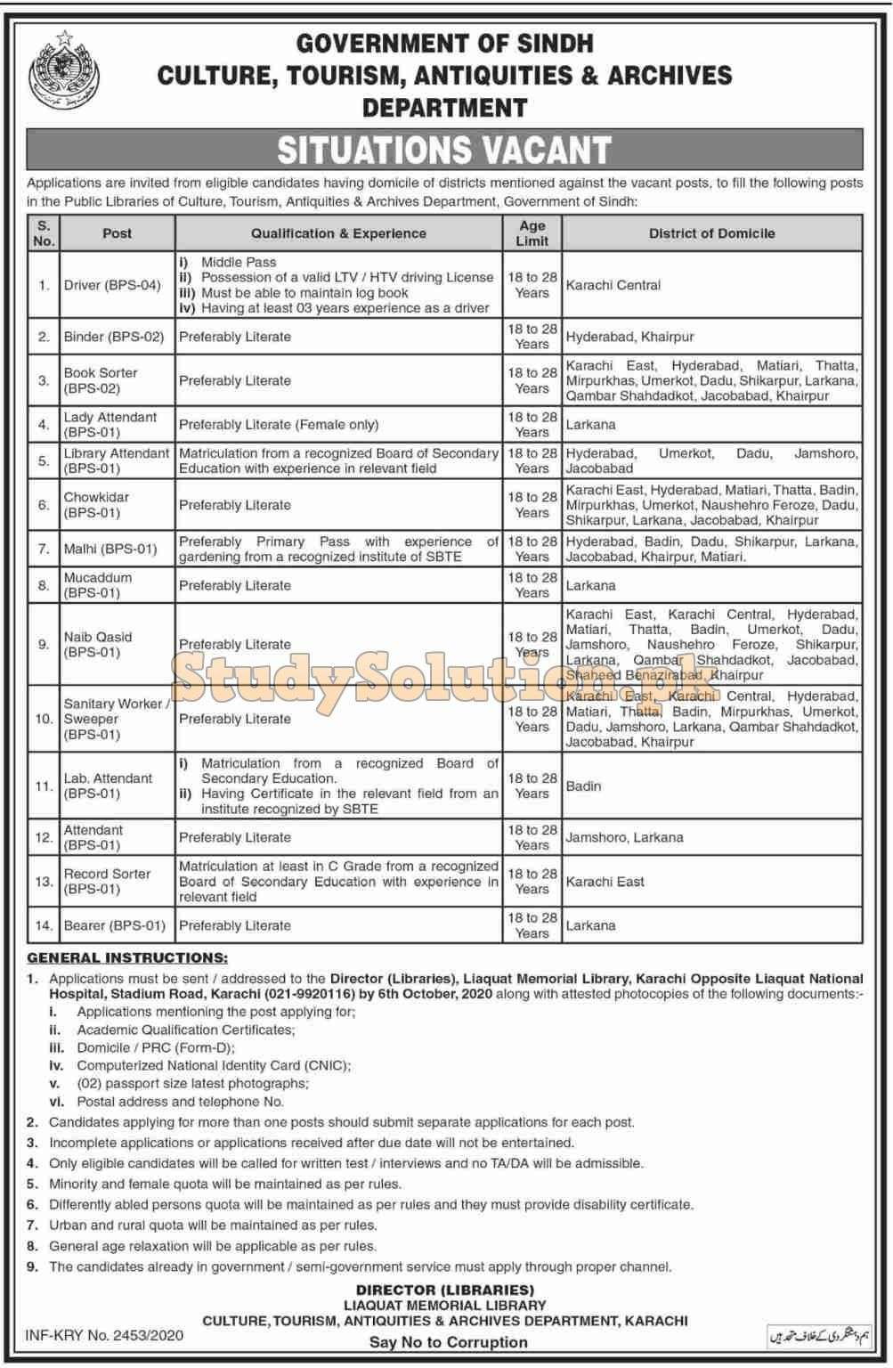Culture Tourism Antiquities And Archives Department Latest Jobs 2020