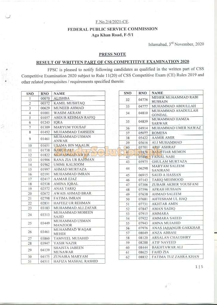 Federal Public Service Commission FPSC CSS CE-2020 Written Result announced