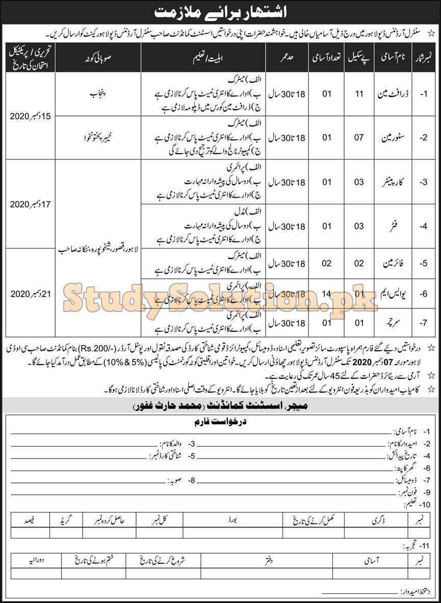 Pakistan Army Central Ordnance Depot Latest COD Jobs Nov 2020