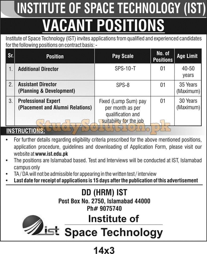 Institute of Space Technology IST Latest Jobs November 2020