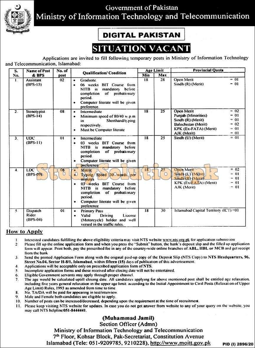 Federal Govt Ministry of Information Technology IT Latest Jobs December 2020