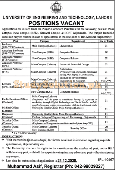 University of Engineering and Technology UET Lahore Latest Jobs 2020