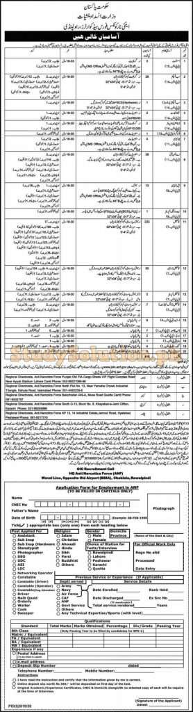 ANF Anti Narcotics Force Pakistan Latest Jobs 2020 Apply Online