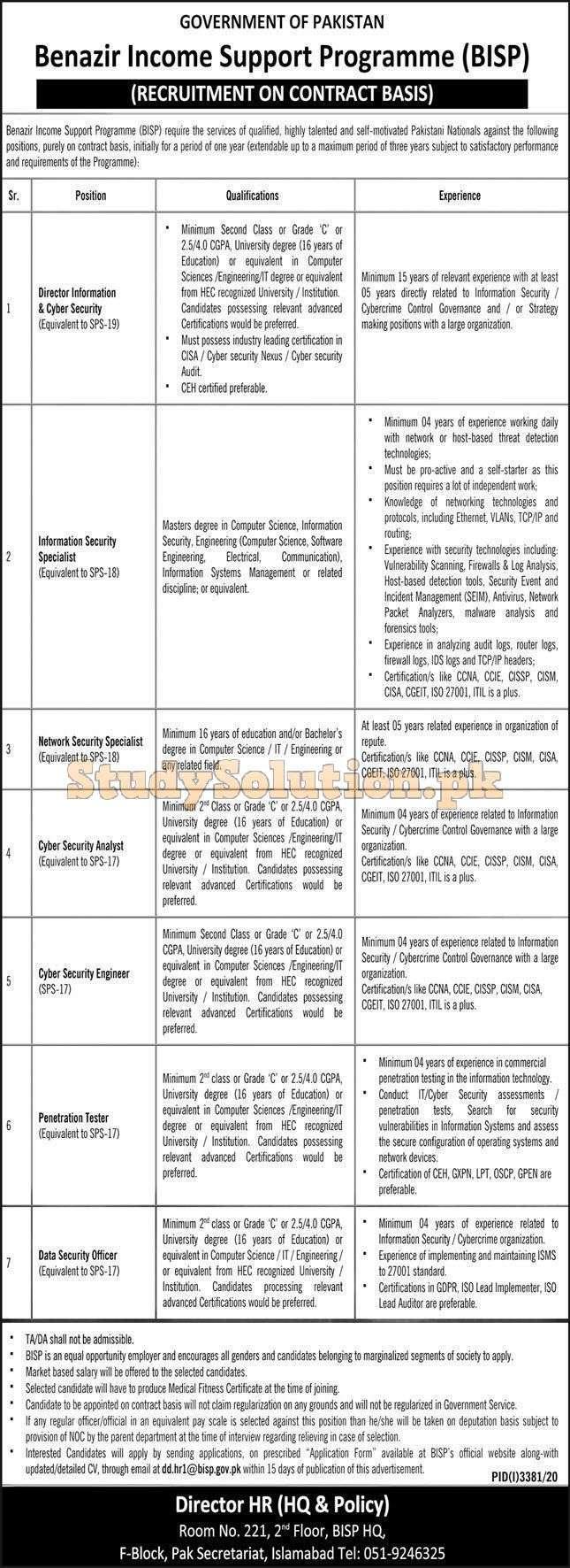 Benazir Income Support Programmed BISP New Jobs 2021