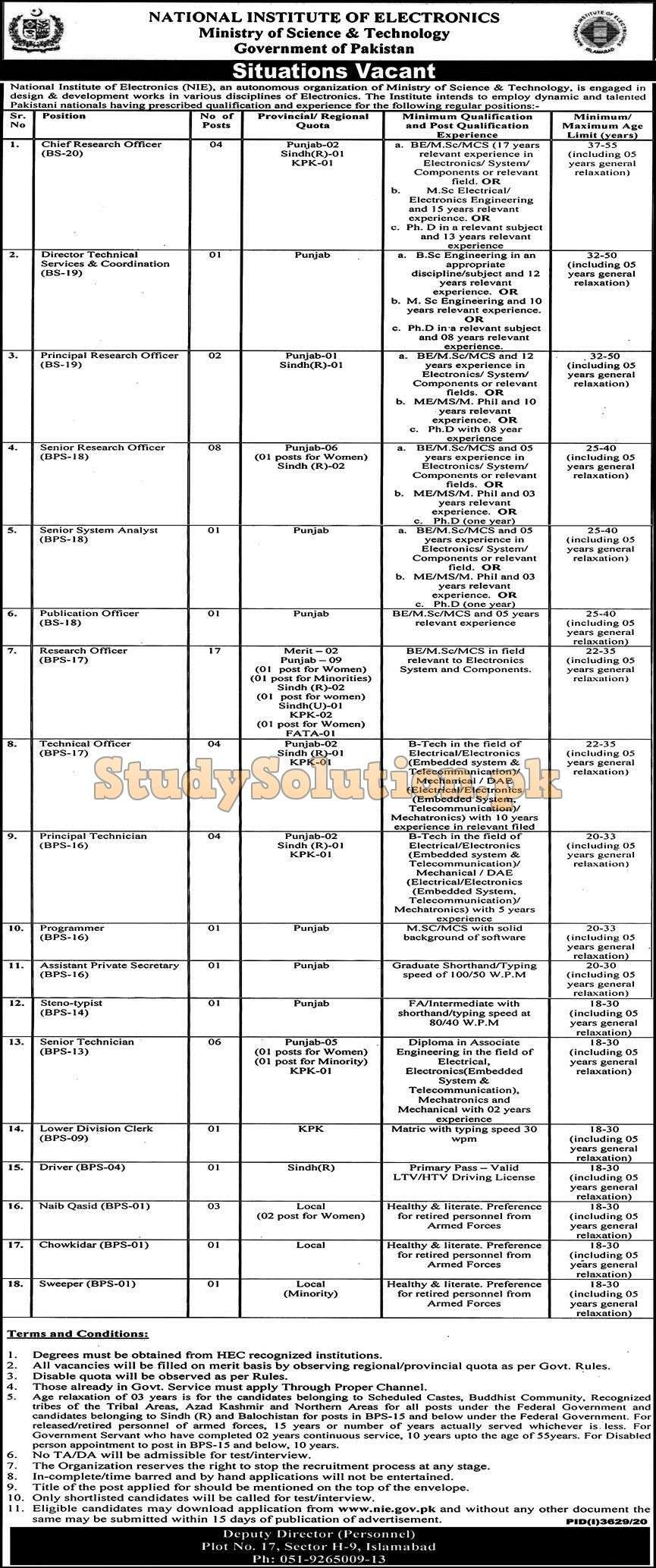 National Institute of Electronics NIE Latest Jobs 2021