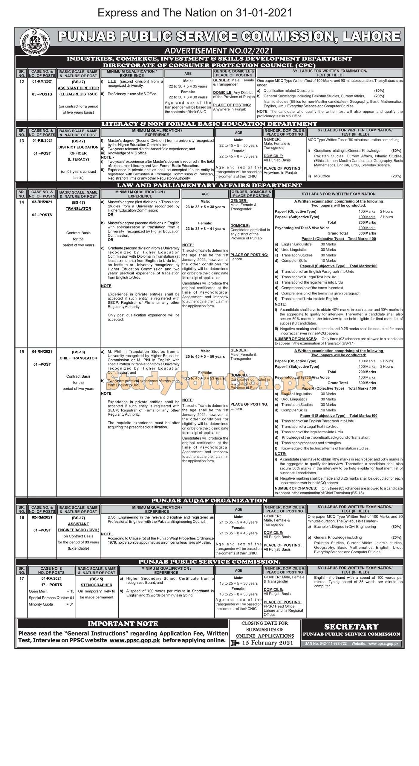PPSC Punjab Public Service Commission Latest Jobs 2021 Advertisement No 02/2021