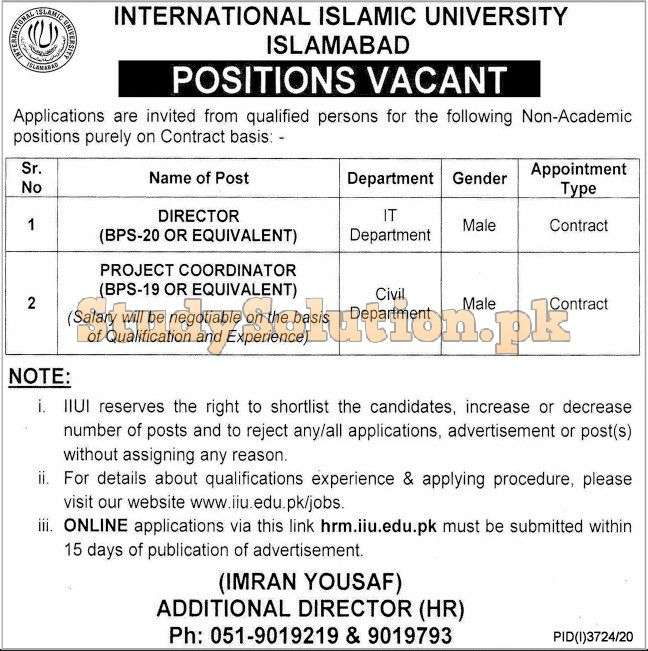 International Islamic University Islamabad IIUI Jobs Latest 2021