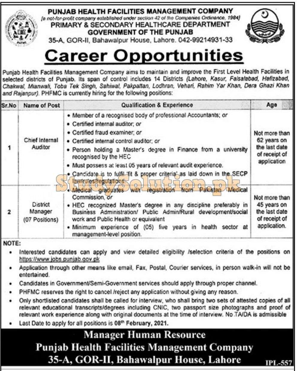 Punjab primary & Secondary Healthcare Department Latest Jobs 2021