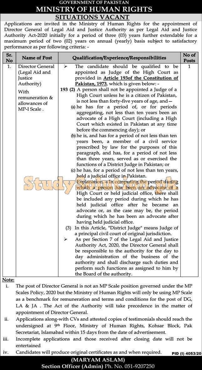 Ministry of Human Rights Latest Islamabad Jobs 2021