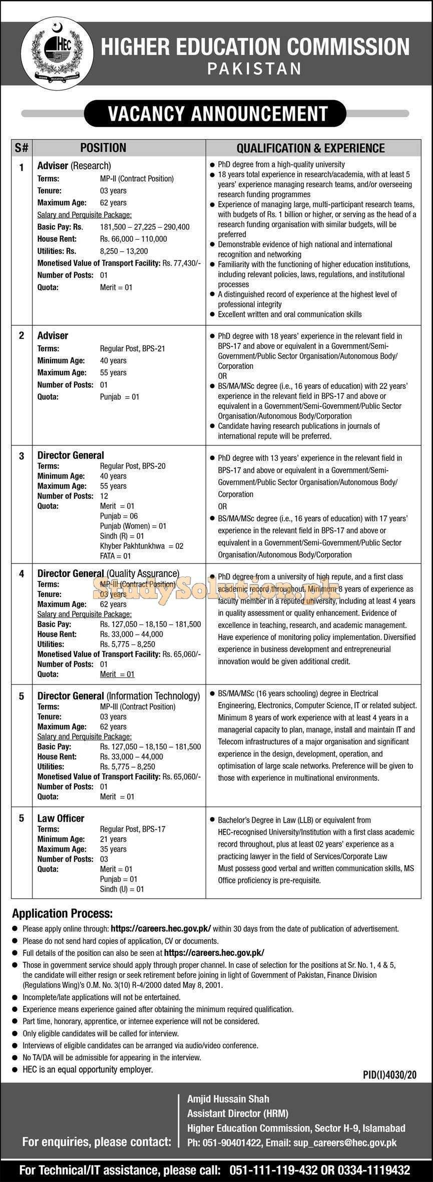 Higher Education Commission HEC Latest Jobs February 2021