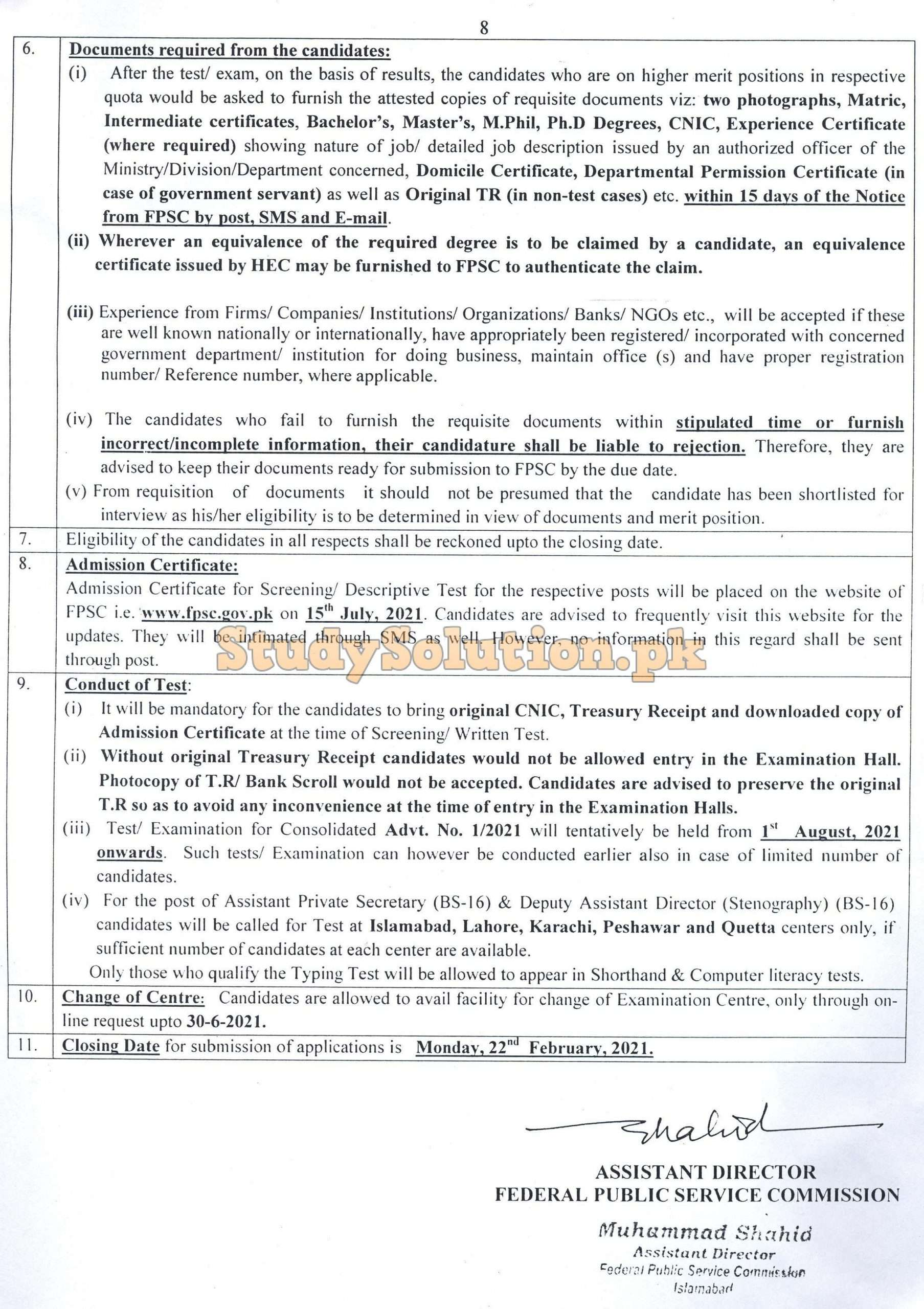 FPSC Federal Public Service Commission Latest Jobs Feb 2021 Advertisement No 01/2021