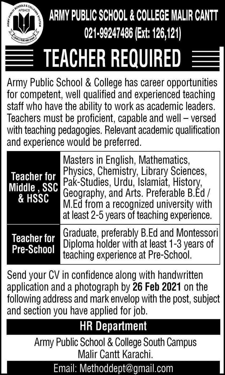 Army Public School Latest Jobs 2021