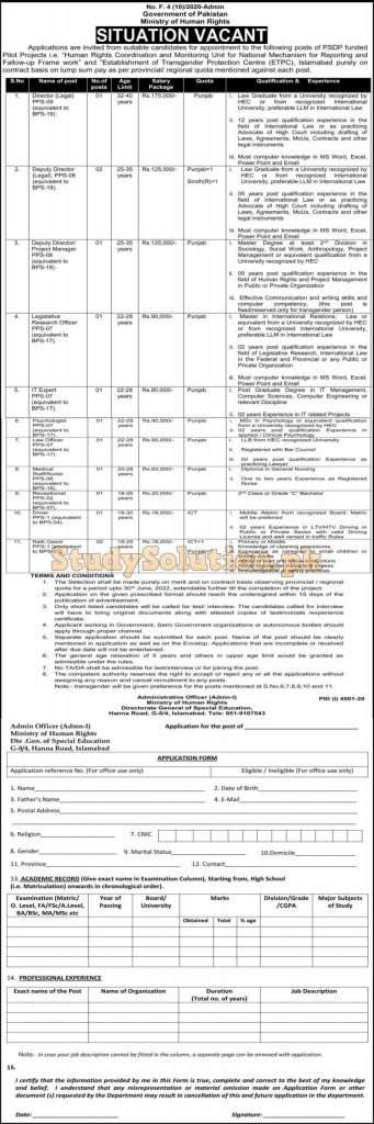 Ministry of Human Rights Latest Jobs February 2021