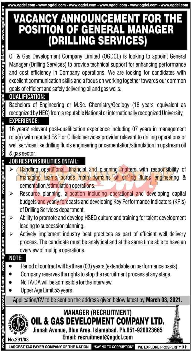 OGDCL Oil & Gas Development Company Limited Latest Pakistan Jobs 2021