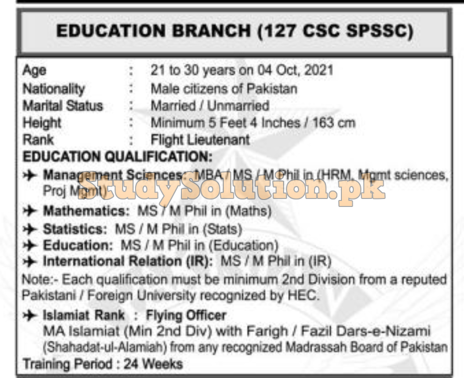 PAF Jobs Education Branch Latest 2021 Advertisement