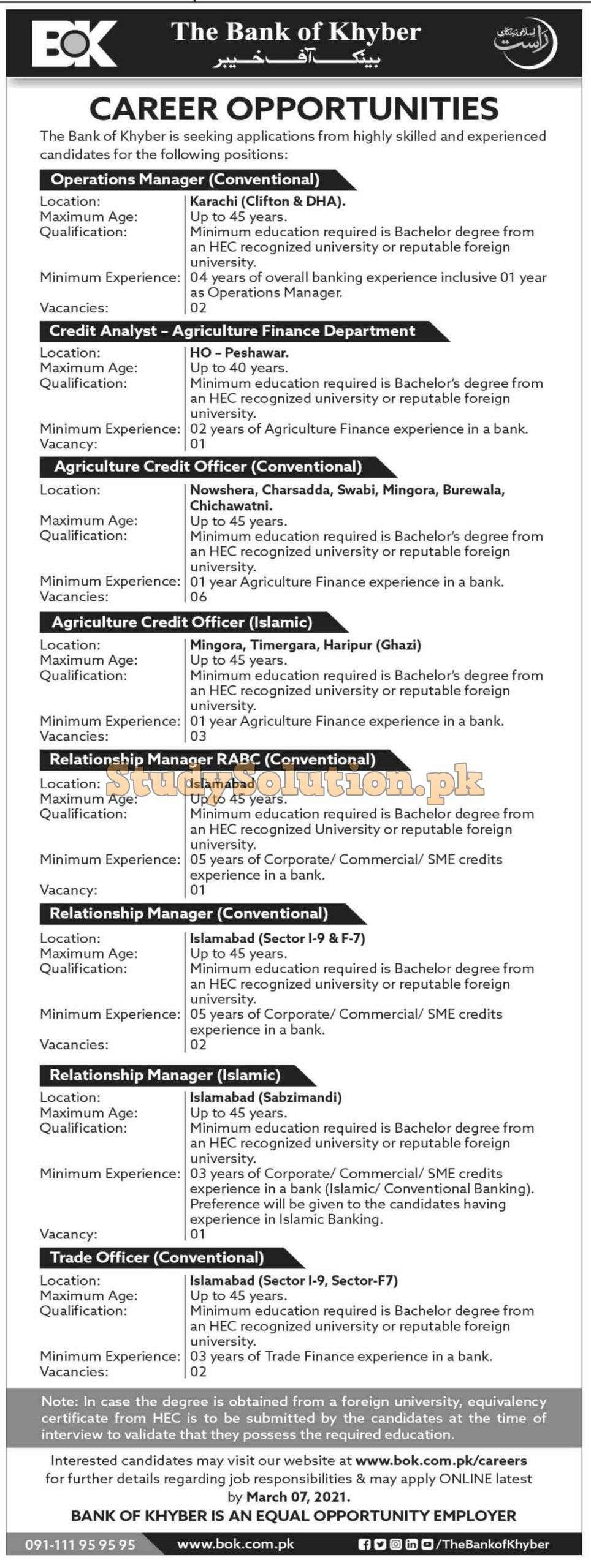 The Bank of Khyber Latest Jobs 2021 Advertisement