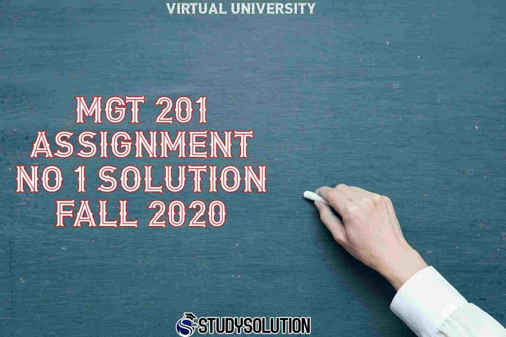 MGT 201 Assignment NO 1 Solution Fall 2020