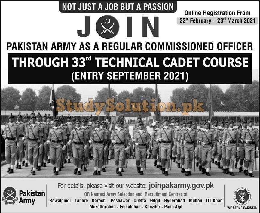 Pak Army Jobs 2021 as Regular Commissioned Officer Advertisement