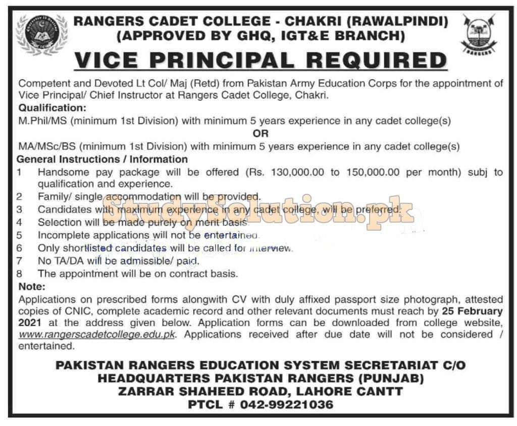 Latest Teaching Jobs in Rangers Cadet College Chakri Rawalpindi 2021