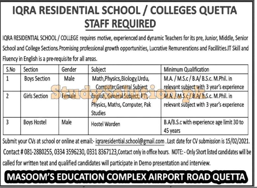 Iqra Residential School Teaching Jobs of Various Subject Latest 2021