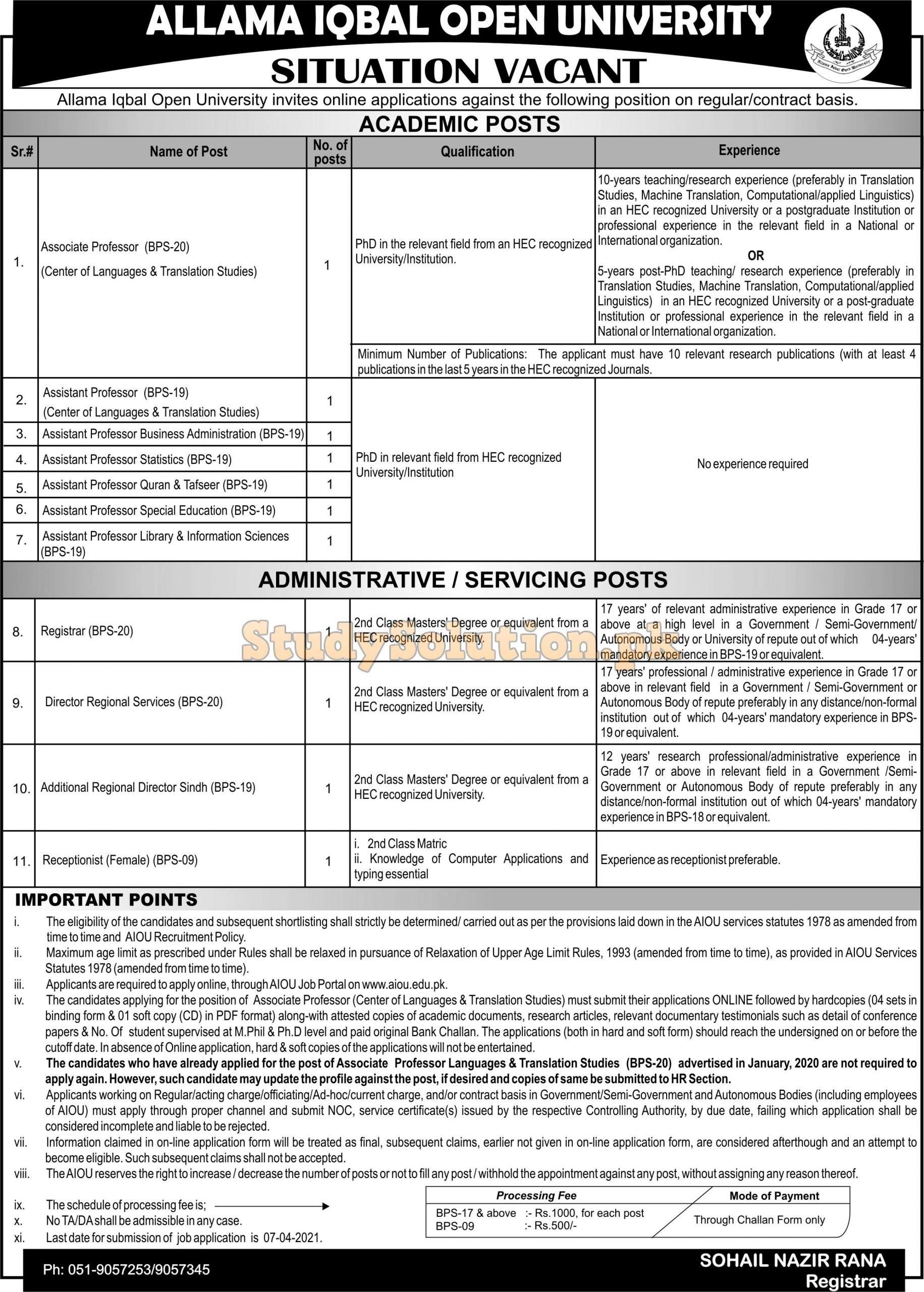 Allama Iqbal Open University AIOU Teaching & Non Teaching Latest Jobs 2021