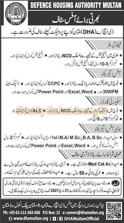 Defence Housing Authority DHA Latest Jobs in Pakistan 2021