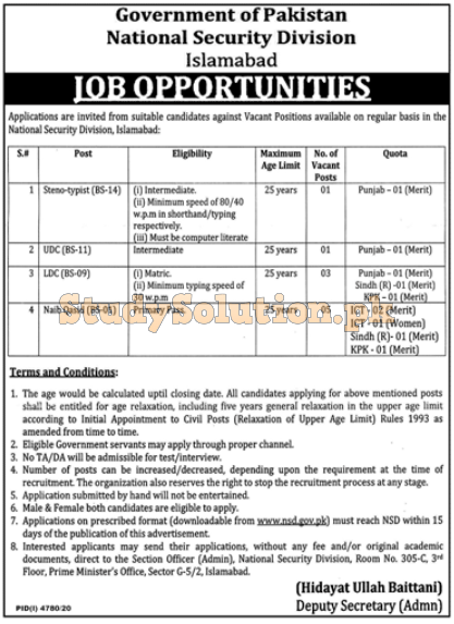 Govt of Pakistan National Security Division Islamabad Jobs 2021