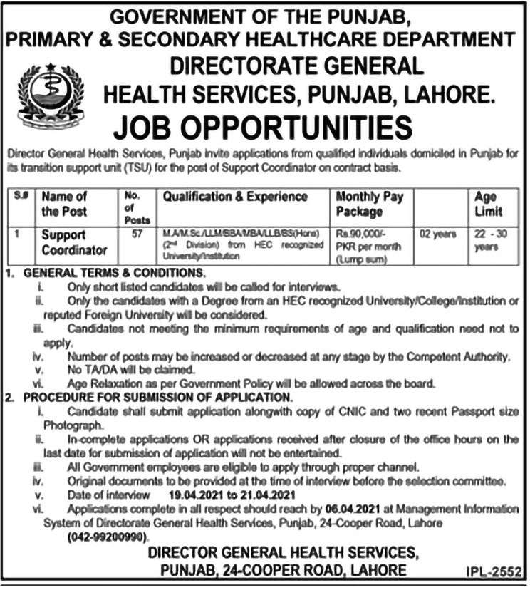 Punjab Health Department Latest Jobs 2021 in Pakistan