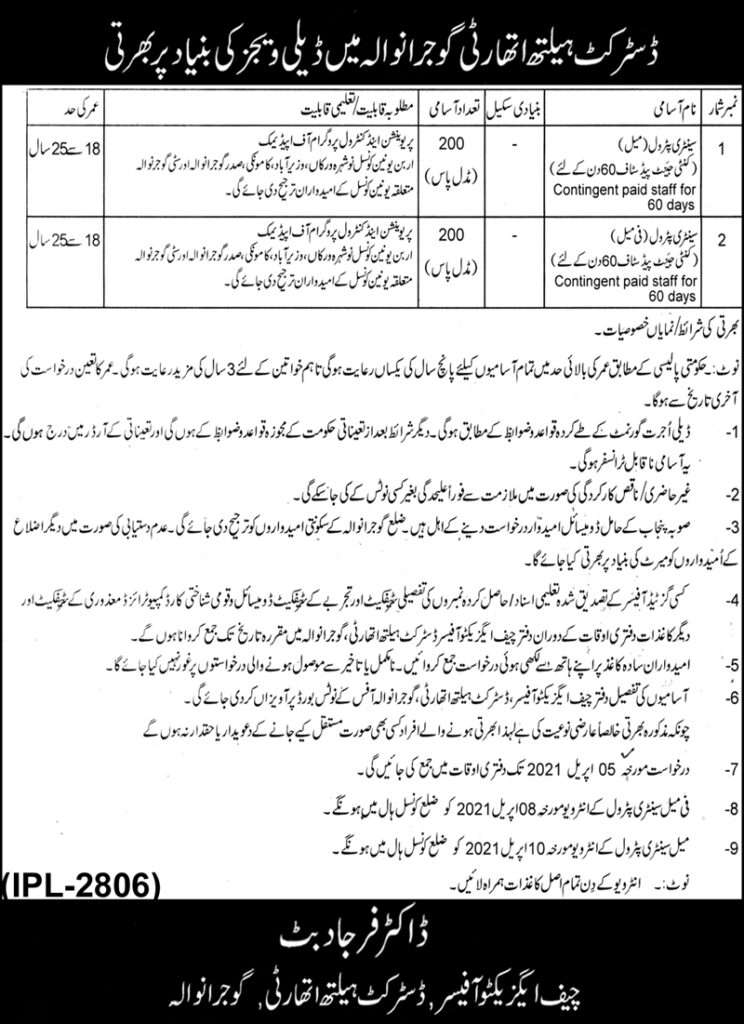 District Health Authority DHA Latest Jobs 2021